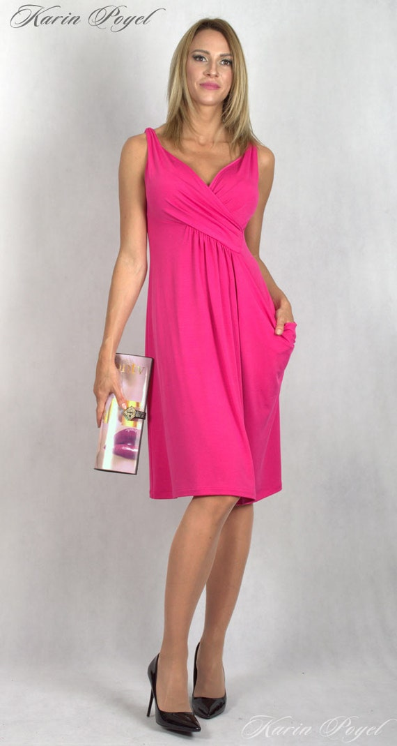 2 Cyclamen Bridesmaid Dress / Stretch Cocktail Dress / Cyclamen Dress / Sleeveless Dress / KARIN # 12-035-01-500-00