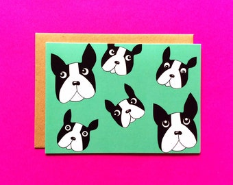 French bulldog greeting card, Bouledogue Français carte