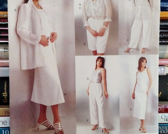 1996 Vogue Five Easy Pieces #1798-Misses' Shirt, Dress (Close-Fitting), Top, Shorts (Wide-Legged) & Pants-Size 14-16-18-Bust 36-38-40-UNCUT