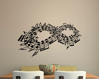wall decal music note decals music stuff infinity symbol wall decal wall art bedroom living room music home decor infinity symbol gift c123