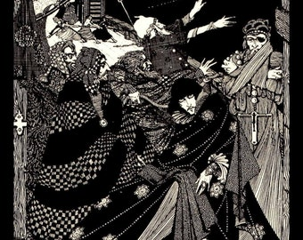 Harry Clarke, Vintage Illustration Form Tales Of Mystery and Imagination By Edgar Allen Poe, Circa 1919, Professionally Black Matted 8 x 10