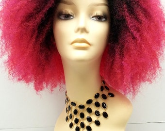 Lace Front Strawberry Magenta Afro with Dark Roots Wig. Heat Resistant Long Curly Layered Wig. Wild Funky Fashion Wig.