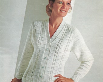 Ladies Vintage Knitting Pattern - Classic Cardigan - DK 34 to 40 inches
