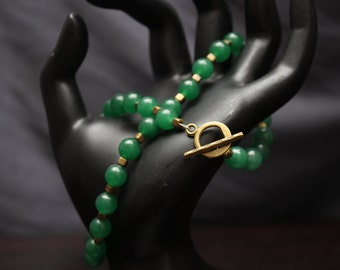 Aventurine and Brass Necklace - FREE SHIPPING