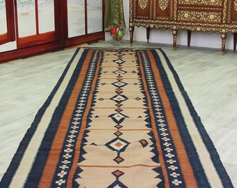 14,4 x 3,4 ft  oriental Handmade nomadic chobi kilim from Afghanistan No:474