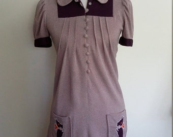 70's mini dress, XS, S, dog dress, novelty dress, purple 70's dress, summer dress, short 70's dress, mod 70's dress, mod dress