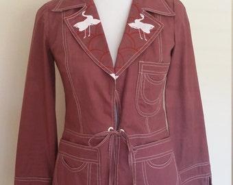 70's jacket, S, jacket, spring jacket, purple jacket, cotton jacket, boho jacket, burgundy jacket, cropped jacket, bird jacket