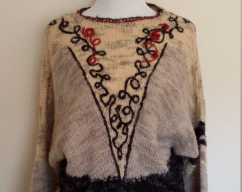 Batwing sweater, M, L, folk sweater, 70's folk sweater, grey sweater, wool sweater, embroidered sweater, floral sweater