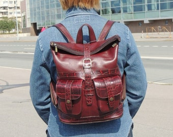"Burgundy leather women's backpack ""Autumn rose"""