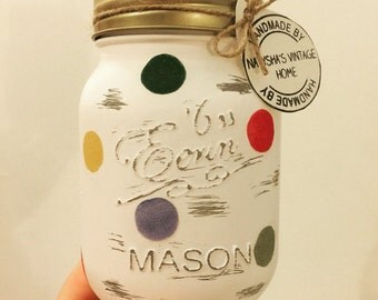 Hand made polkadot 500ml Mason jar