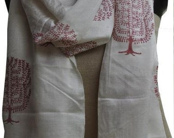 Block printed silk scarf