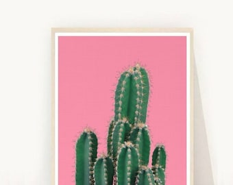 Cactus Printable Art, Cactus Wall Art, Pink Wall Art, Desert Cactus, Home Decor,  Wall Decor, Digital Download