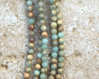 """Opal Beads - Smooth Round Blue Opal Beads - 4mm round, FULL 16"""" strand (about 99 beads) - G872"""