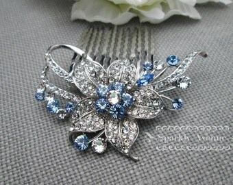 Something Blue Wedding Hair Comb Bridal Hair Comb Flower Hair Accessories Leaf Hair Clip Sapphire Hair Comb Blue Crystal Swarovski Nora