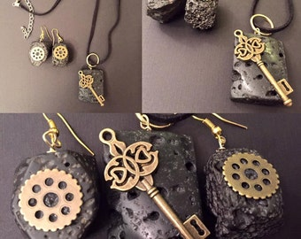 Volcanic Gears and Key Necklace and Earrings Set