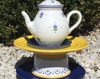 Teapot whimsy, garden whimsy, garden art sculpture, garden totem, garden decor ceramics, upcycled garden decor, bird feeder, bird bath
