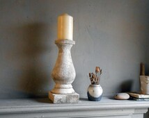 Balustrade Candle Stick cast stone, 12 inches high, for a 3 inch diameter church  candle