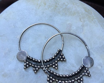 Silver bedouin hoop earrings - nosering - shnaf - Egypt