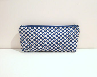 Blue Cosmetic  Pouch /Pencil Case With Narcissus Motifs.