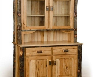 Rustic Hickory 2 Door Hutch with 2 Door - 2 Drawer Buffet - Handmade Kitchen - Dining Room - Amish Made Furniture in USA