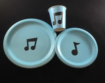 Music Note Party Plates - Music Theme Birthday Plates - Music Note Cups - Treble Clef Party - Musical Wedding - Symphony Orchestra Rock Band