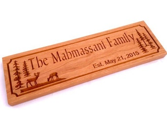 Cherry Family Name Established Sign w/ Trees and Deer - Carved Wood Sign