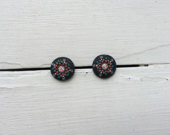 Kaleidoscope Polymer Clay Earrings in Pomegranate and Sparkly Black
