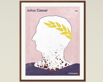 Julius Caesar, Shakespeare - Medium literary poster, literary gift, minimalist poster, bookish gift, book cover poster, digital download