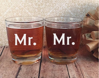 Personalized Mr. and Mr. / Mrs. and Mrs. Rocks Glass Set - Set of Two Rocks - Gay Wedding Gift - Set of 2 Rocks Glasses - Wedding Gift