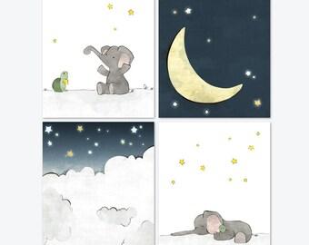 Elephant Nursery Art - Moon and Stars Art Prints, Grey Navy Nursery Prints, Kids Room Wall Art, Children Moon Decor - Set of 4