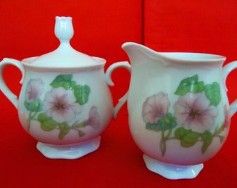 FOOTED China Creamer & Lidded Sugar Bowl by TRELLIS INTERNATIONAL Rhythm China Vintage Made in Japan