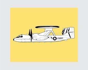 Airplane Art Print, 8x10 PRINTABLE, E-2 Hawkeye, Instant Download, Digital