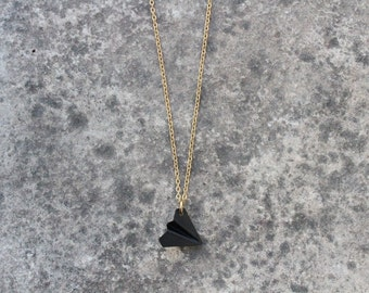 Paper Airplane Necklace, Origami Airplane, Long Brass Necklace, Mens Necklace, Hipster Mens Jewelry, Tomboy Chic, Black Pendant, Minimalist