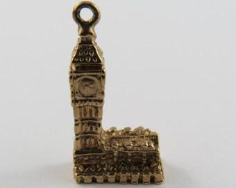 Big Ben Clock Tower 9K Gold Vintage Charm For Bracelet