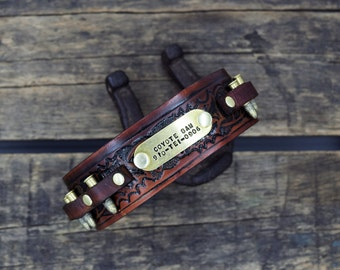 The Real McCoy Leather Dog Collar Personalized Name ( Gun Belt ~ Bullet Dog Collar ~ Western Dog Collar ~ Tooled Collar ~  Hunting Dog )