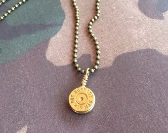 300 Winchester Mag Bullet Casing Necklace, Mens bullet jewelry, Upcycled bullets, Womens jewelry, Bullet jewelry