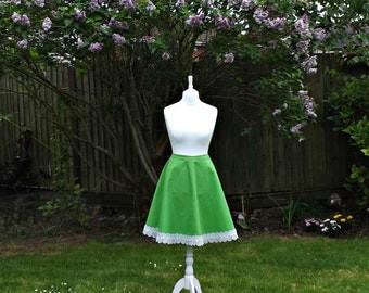 50's Style Circle Skirt, Vintage Style Skirt, Floral Skirt, Embroidered Skirt, Women's Skirt, Circle Skirt, Daisy Skirt, Green Skirt, Cotton
