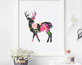 Floral Deer Printable, Deer Wall Art, Animal Wall Art, Floral Deer Print, Teen Wall Art, Tribal Wall Print, Deer Printable, Deer Wall Art