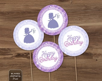 SALE - Sofia Cupcake Toppers - Printable - Sofia the 1st Inspired Cupcake Topper - INSTANT DOWNLOAD - Sofia the First - Digital file