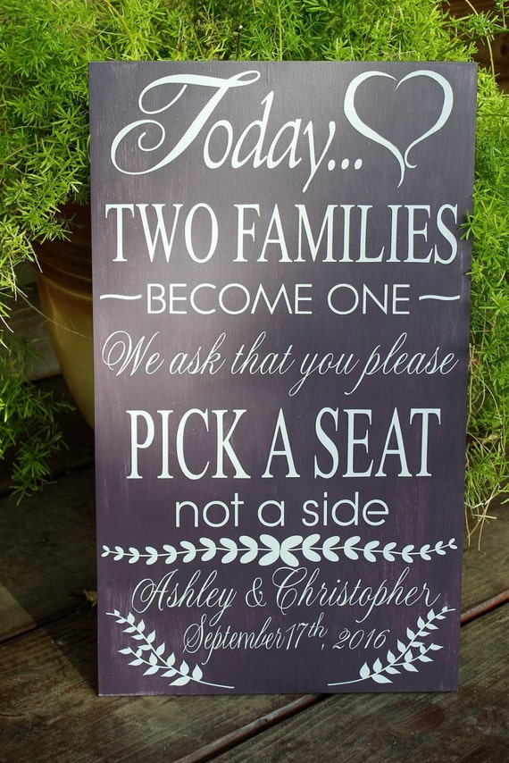Wedding Sign Pick A Seat Not A Side Bride And Groom By PamelaBouse
