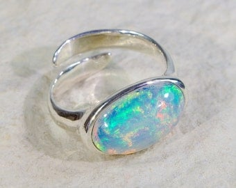 BIG SIZE Opal ring, welo opal ring, natural opal ring, Ethiopian opal ring, 925 sterling silver ring, welo opal jewelry, opal silver ring