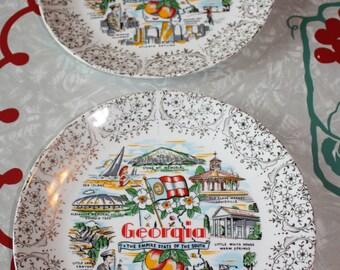 Georgia State Souvenir Vintage Plates (2-Piece Set )