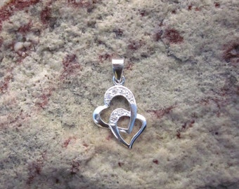 Cubic Zirconia & Sterling Silver Double Heart Pendant - #183