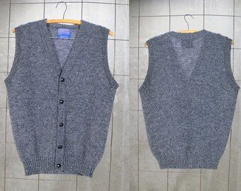 Mens Wool Sweater Vest • Classic Layering Sweater • Vintage Pendleton • Preppy Gray Vest • Men's Small