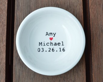 Handpainted personalised ring dish, names and date, a beautiful wedding gift.