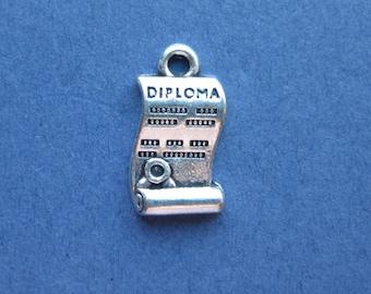 4 Diploma Charms - Diploma Pendants - Graduation Charms - Diploma - Graduation - Antique Silver - 18mm x 9mm -- (No.91-10036)