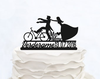 Mr and Mme Cake Topper_Wedding Cake Topper with surname and date_Custom cake Topper with bicycle_Bride And Groom On Bike Silhouette