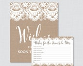 Wishes for the Soon to Be Mrs - Printable Burlap and Lace Bridal Shower Wishes for the Bride to Be - Printable Bridal Shower Wishes - 0003