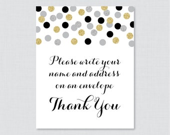 "Black, Silver and Gold Address an Envelope Sign - Printable Download - ""Please Write Your Name and Address on an Envelope"" Sign - 0001-K"