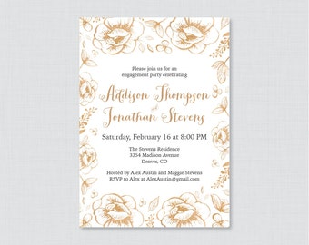 Gold Floral Engagement Party Invitation Printable or Printed - Gold Flower Engagement Party Invitations - White and Gold Party Invite 0027